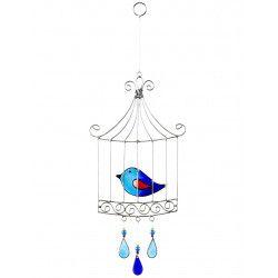 Suncatcher oiseau cage bleu
