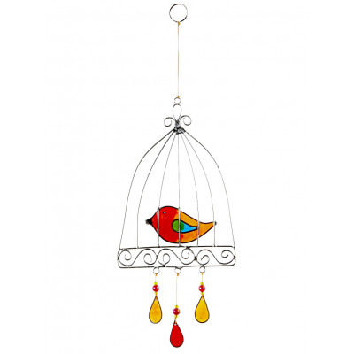 Suncatcher oiseau cage orange