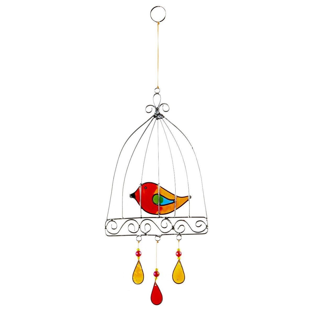 Suncatcher oiseau cage orange