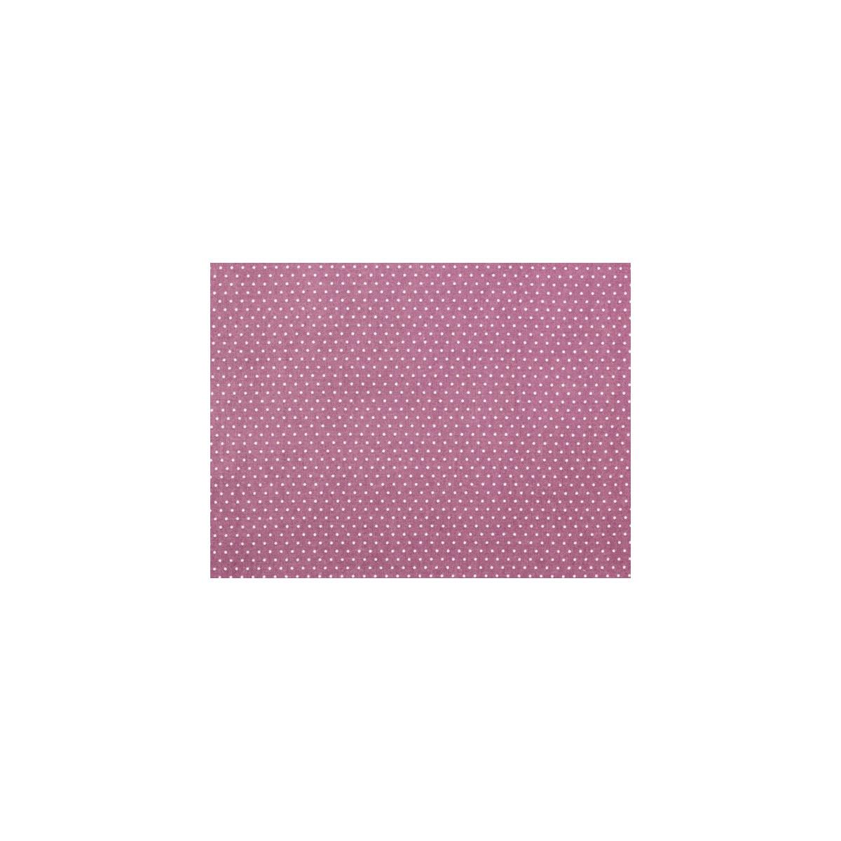 Tissu coton petit pois prune