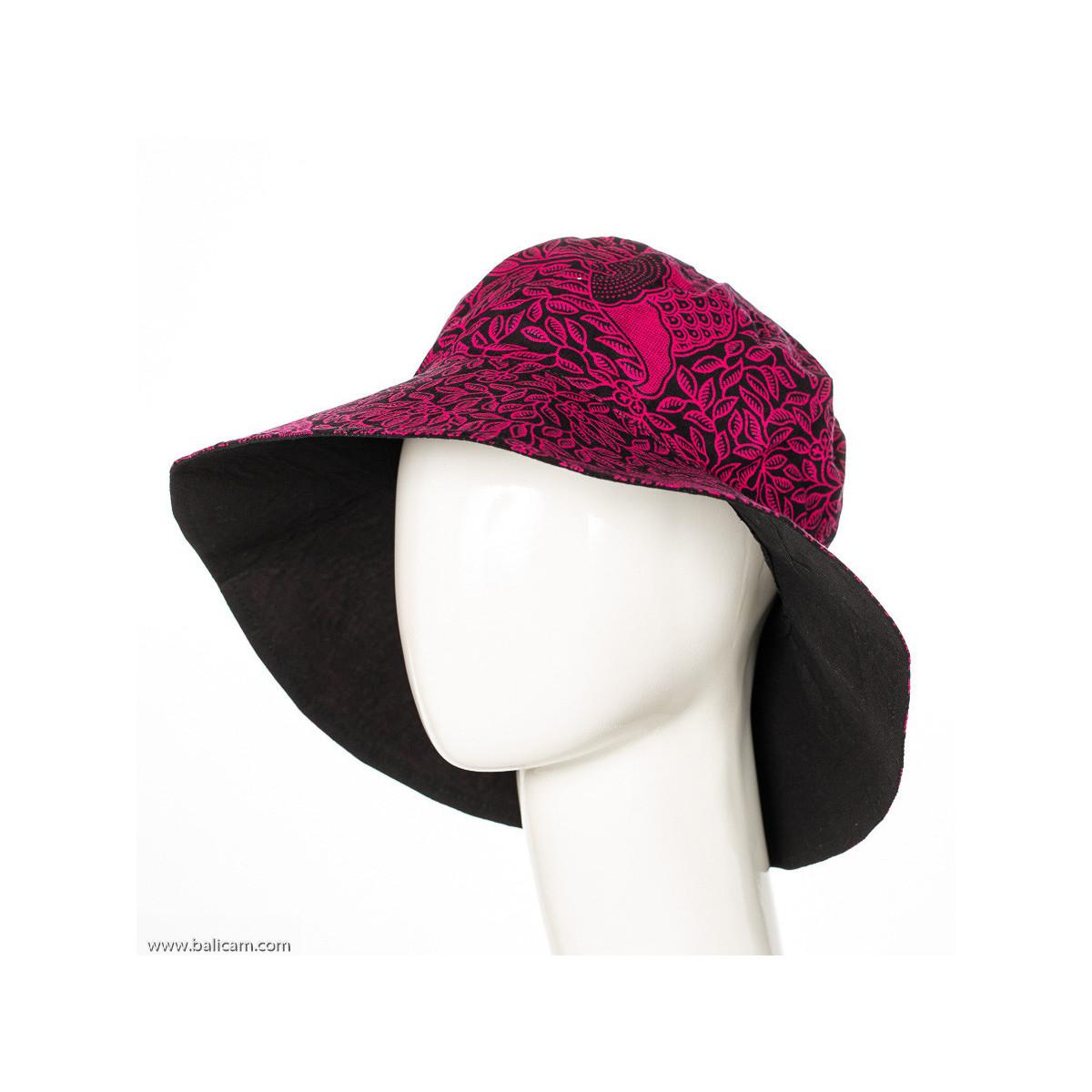 Chapeau coton adulte réversible noir et rose