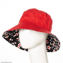 Chapeau coton adulte réversible rouge à pois et noir fleurs de cerisiers