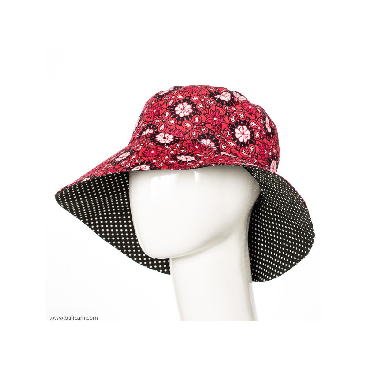 Chapeau coton adulte réversible rose framboise et noir à pois
