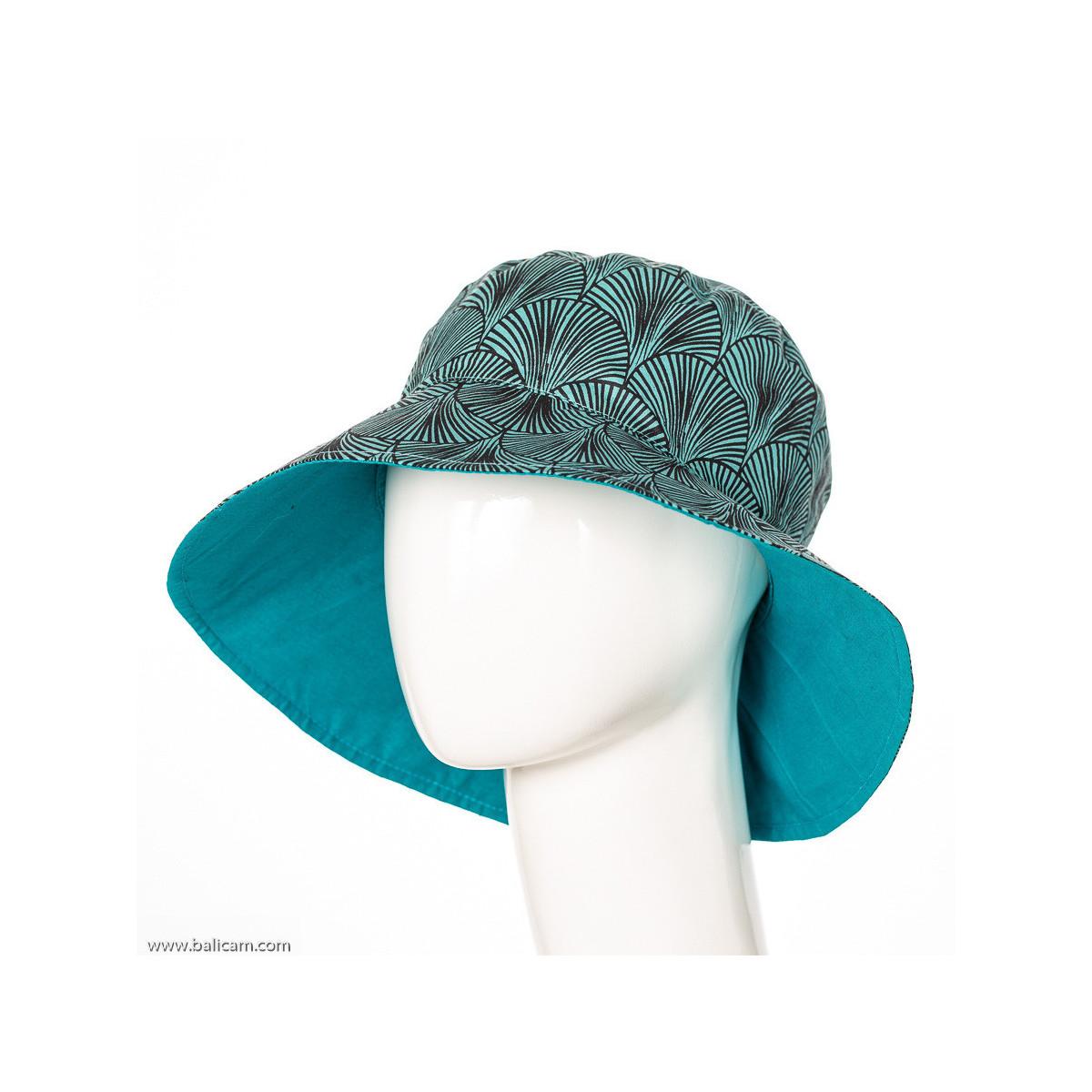 Chapeau coton adulte réversible vert d'eau