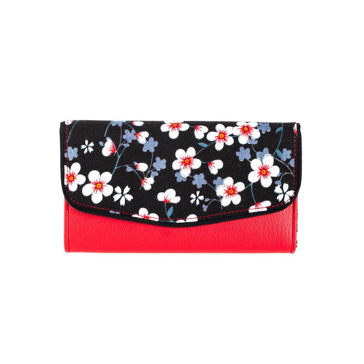 Portefeuille coton noir et rouge à fleurs