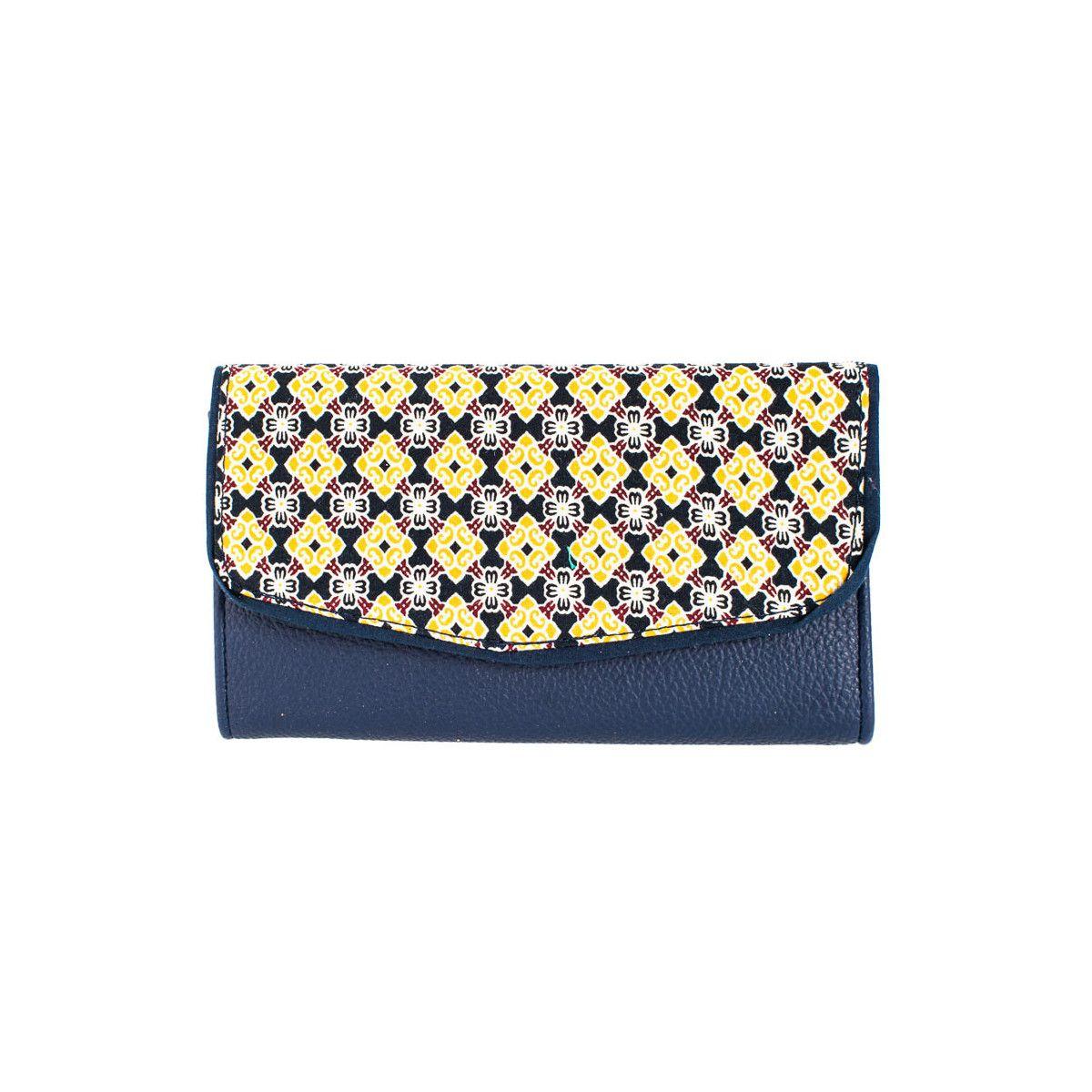 Portefeuille coton bleu marine et jaune