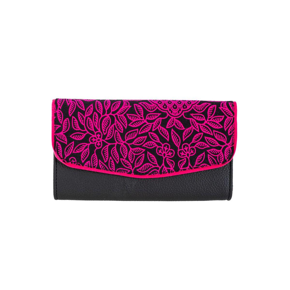 Portefeuille coton noir et rose