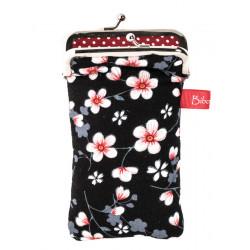 Housse de protection téléphone noir et fleurs de cerisiers