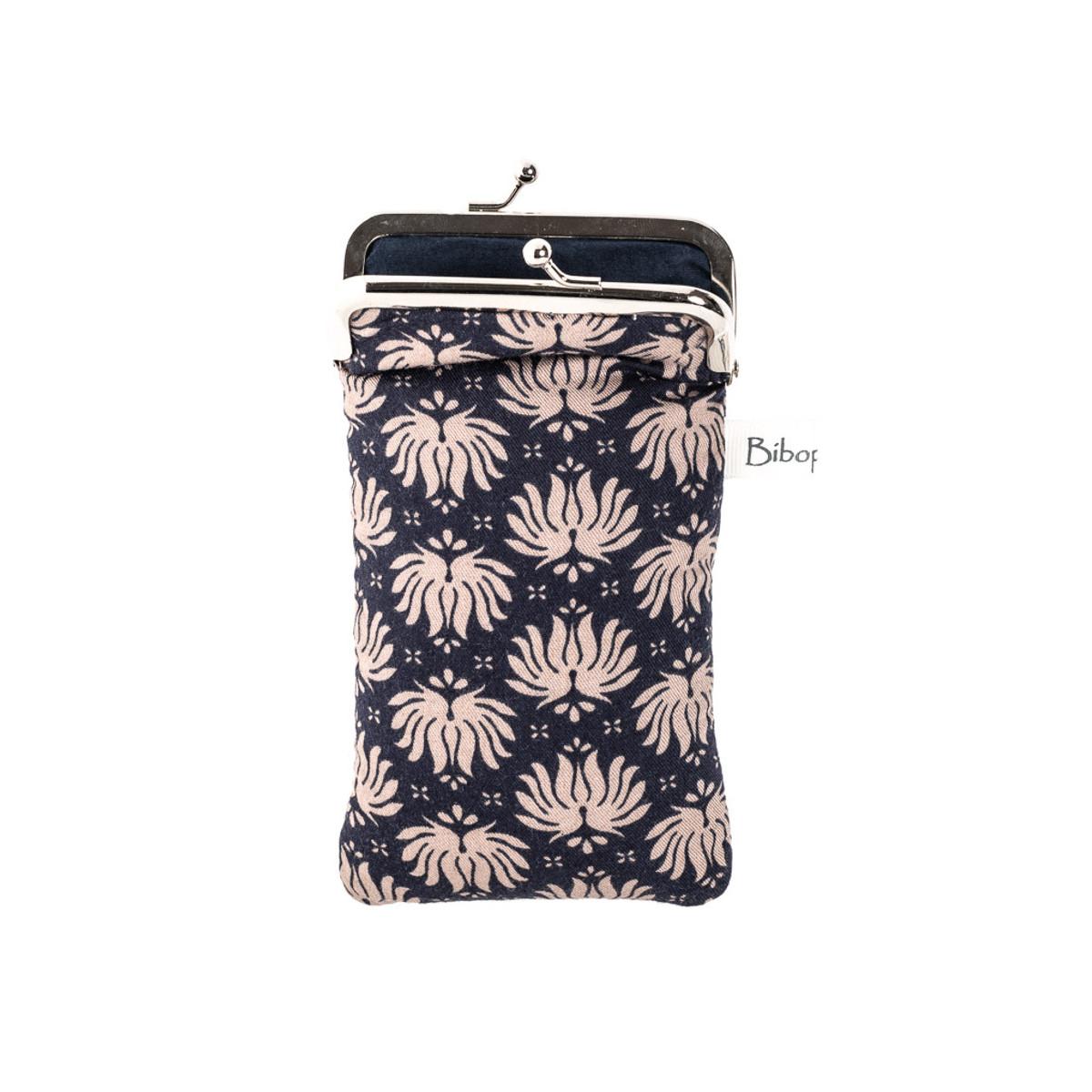 Housse de protection téléphone bleu et fleurs écru