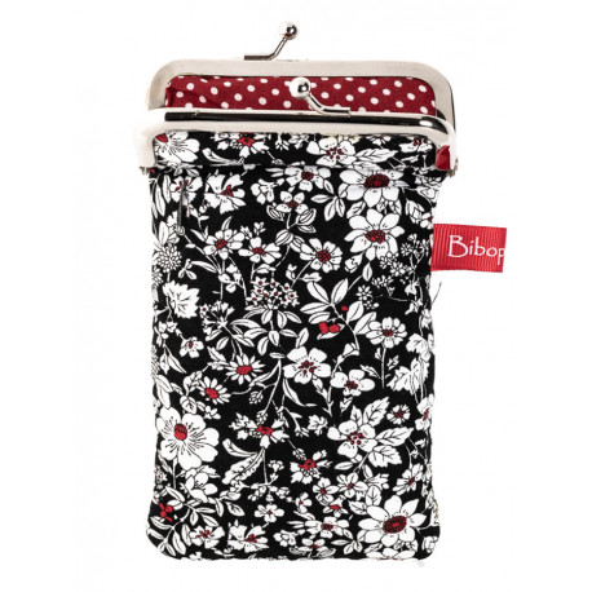 Housse de protection téléphone noir et rouge à fleurs