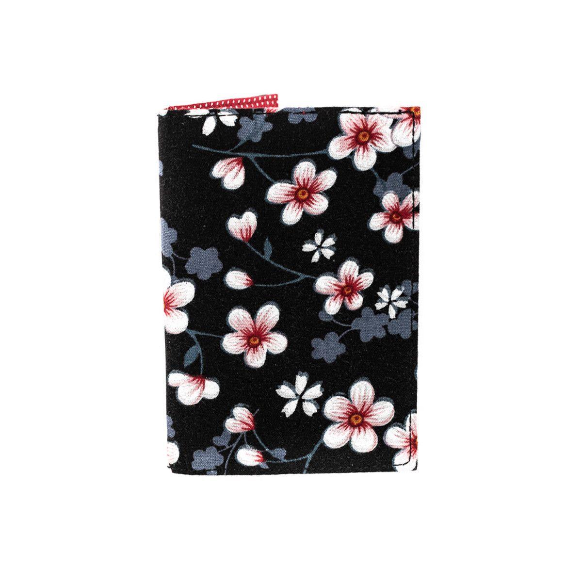 Porte-cartes rigide en coton noir à fleurs et rose cerise