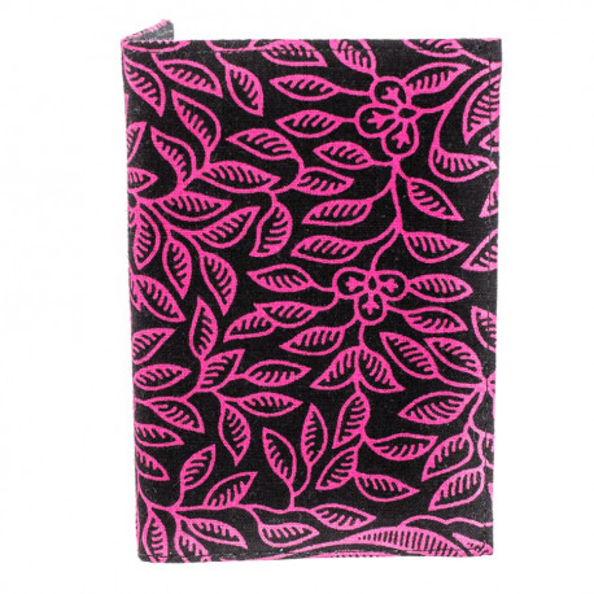 Porte-cartes rigide en coton noir et rose