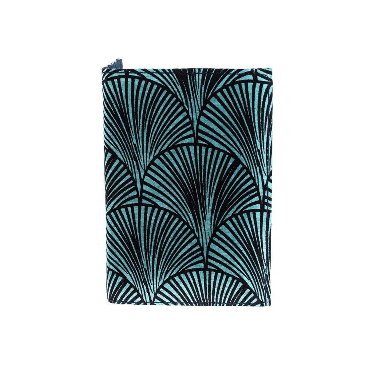 Porte-cartes rigide en coton bleu marine et vert d'eau