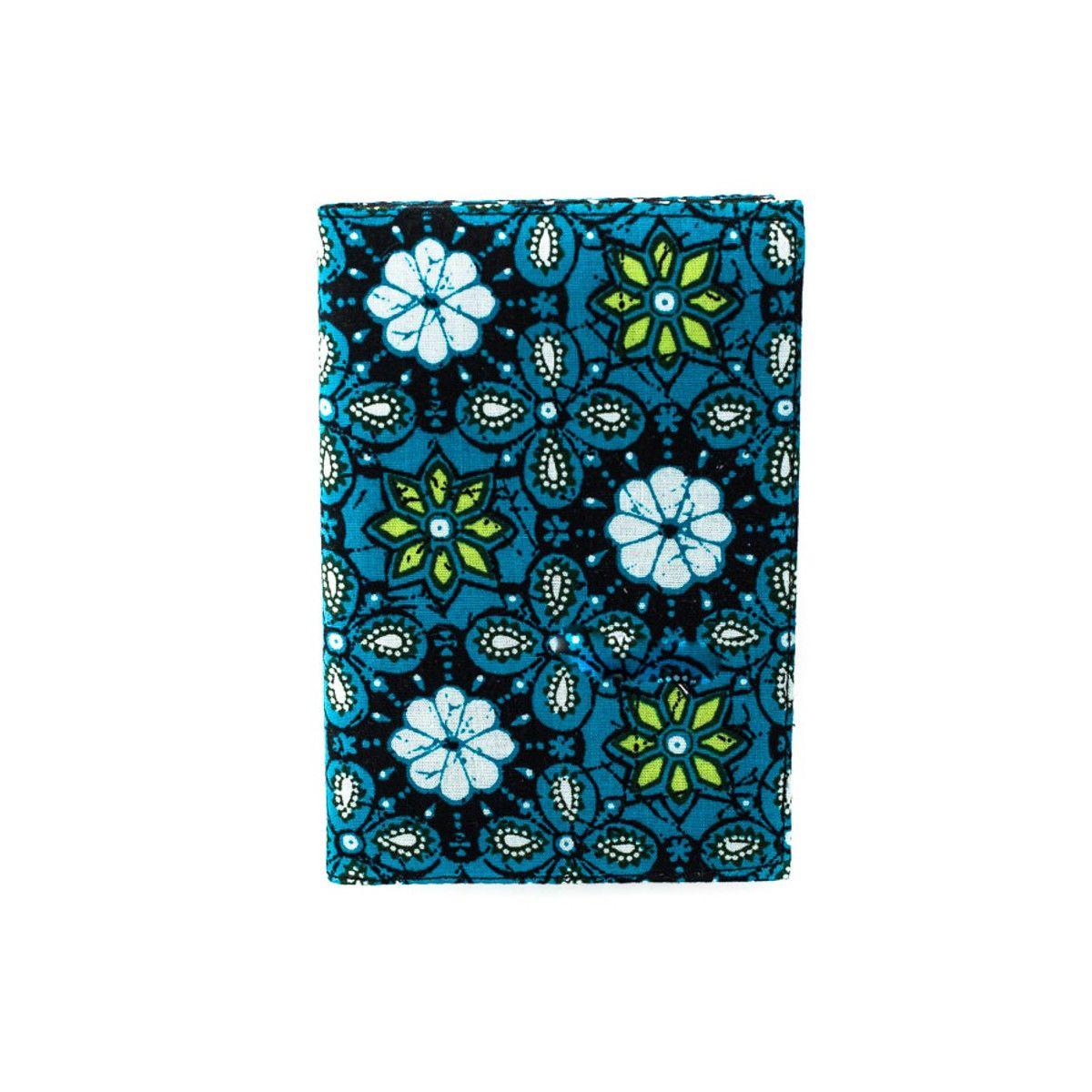 Porte-cartes rigide en coton bleu et noir à pois