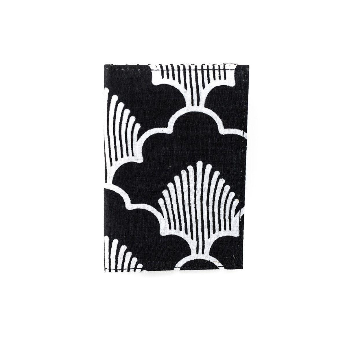 Porte-cartes rigide en coton noir et blanc à pois