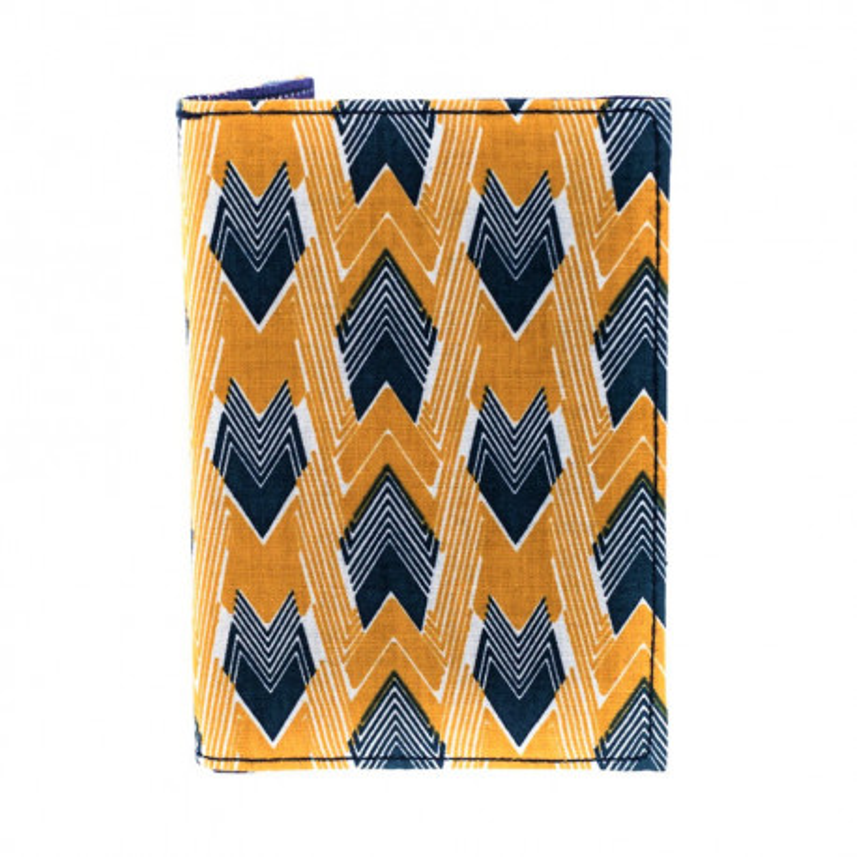 Porte-cartes rigide en coton jaune et bleu à pois