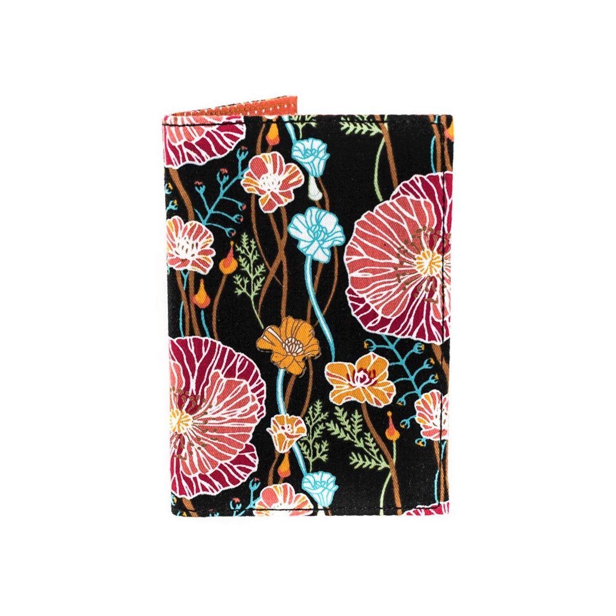 Porte-cartes rigide en coton noir à fleurs