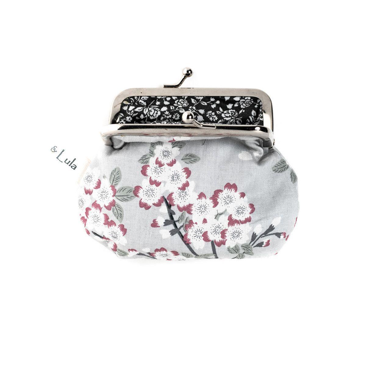 Petit-porte monnaie style rétro platvert d'eau et fleurs cerisiers
