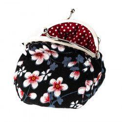 Petit porte-monnaie bourse à clip rétro noir à fleurs cerisiers