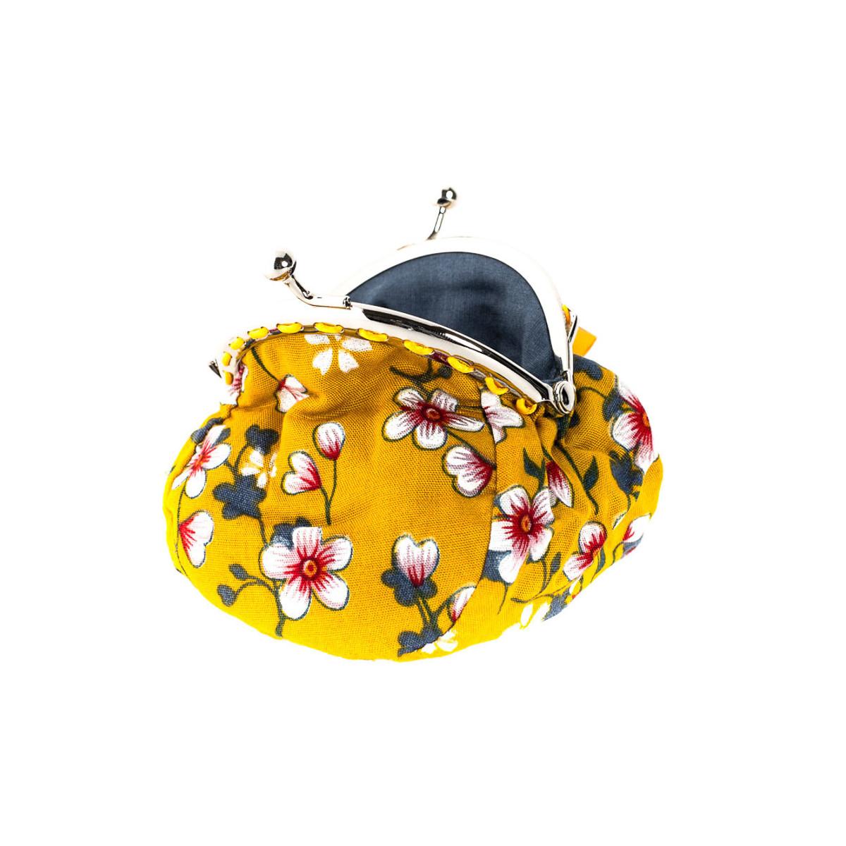 Petit porte-monnaie bourse à clip rétro jaune moutarde à fleurs cerisiers