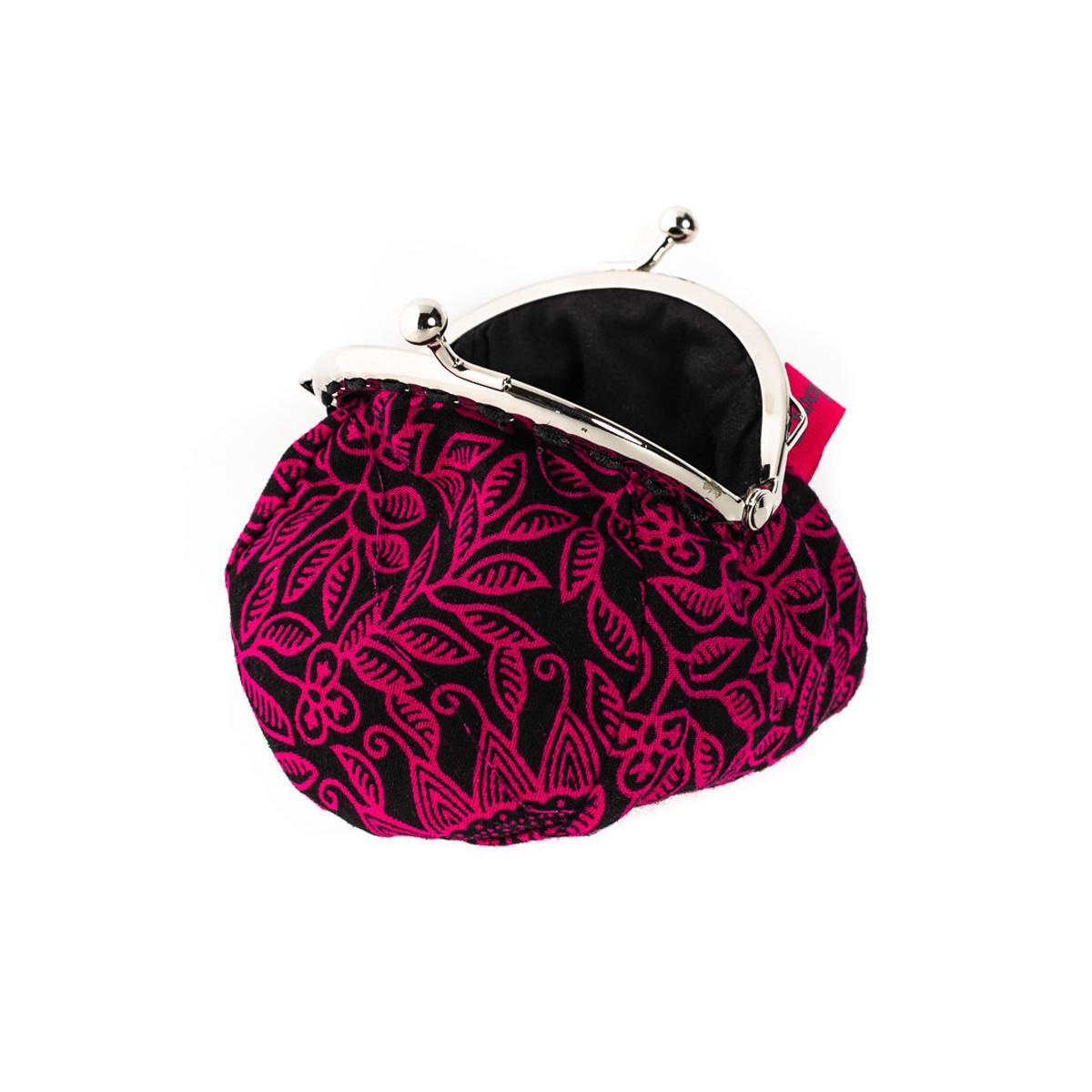 Petit porte-monnaie bourse à clip rétro rose et noir