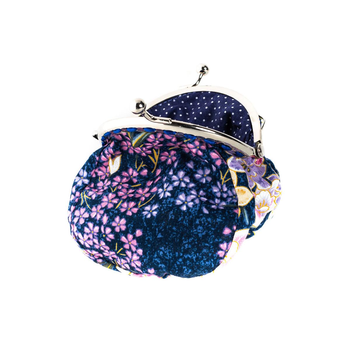 Petit porte-monnaie bourse à clip rétro mauve iris