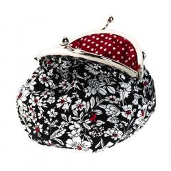 Petit porte-monnaie bourse à clip rétro noir et rouge à fleurs
