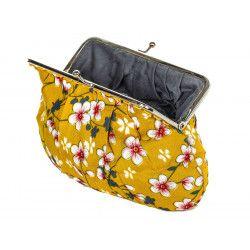 Grand porte-monnaie rétro à clip jaune moutarde à fleurs de cerisiers