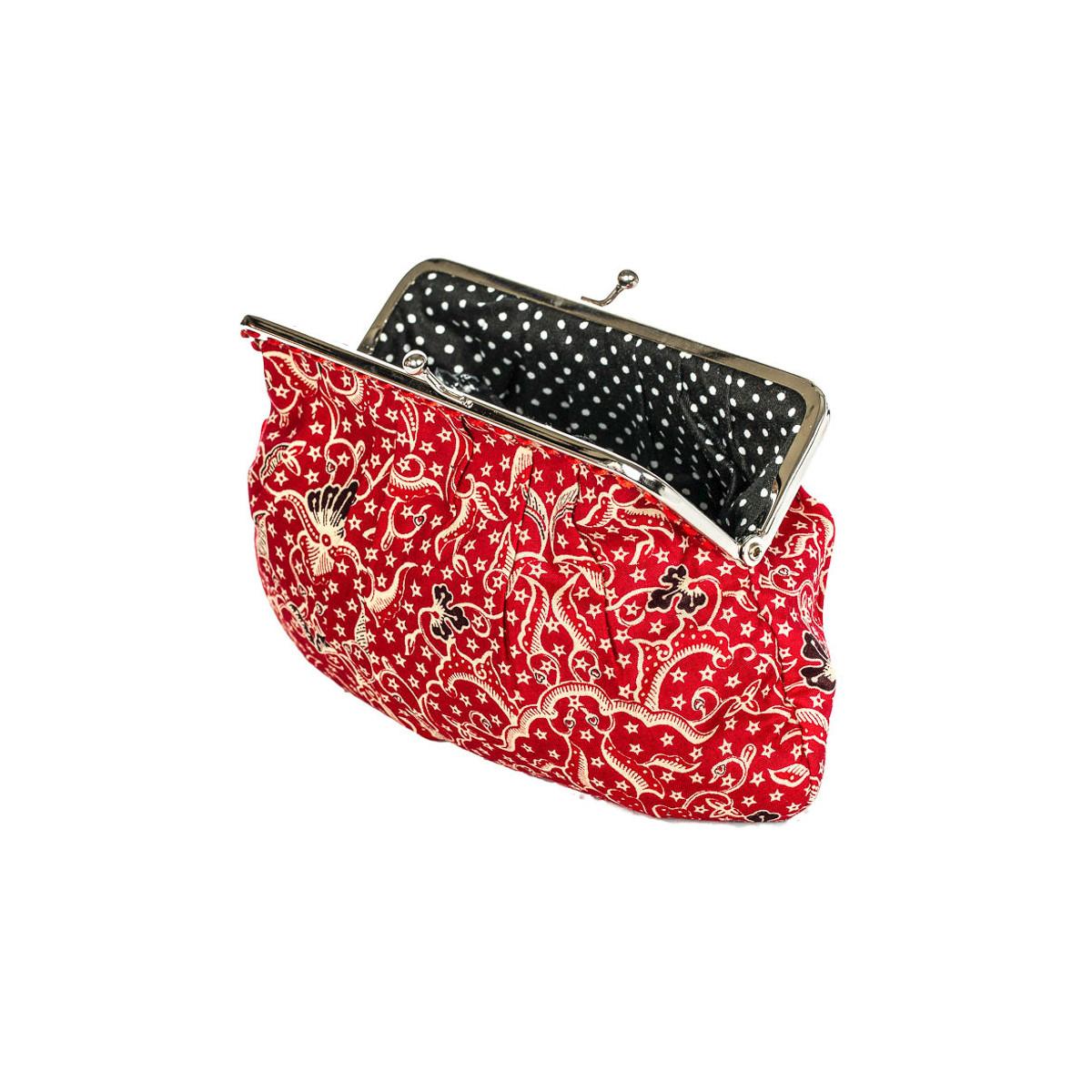 Grand porte-monnaie rétro à clip rouge et noir à pois
