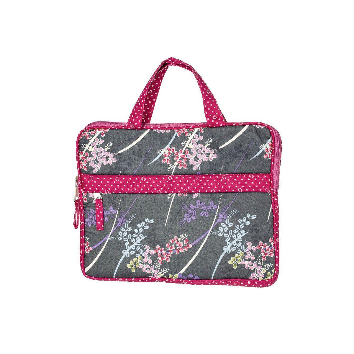 Housse de protection pour tablette écran 10 pouces gris ardoise et rose à fleurs