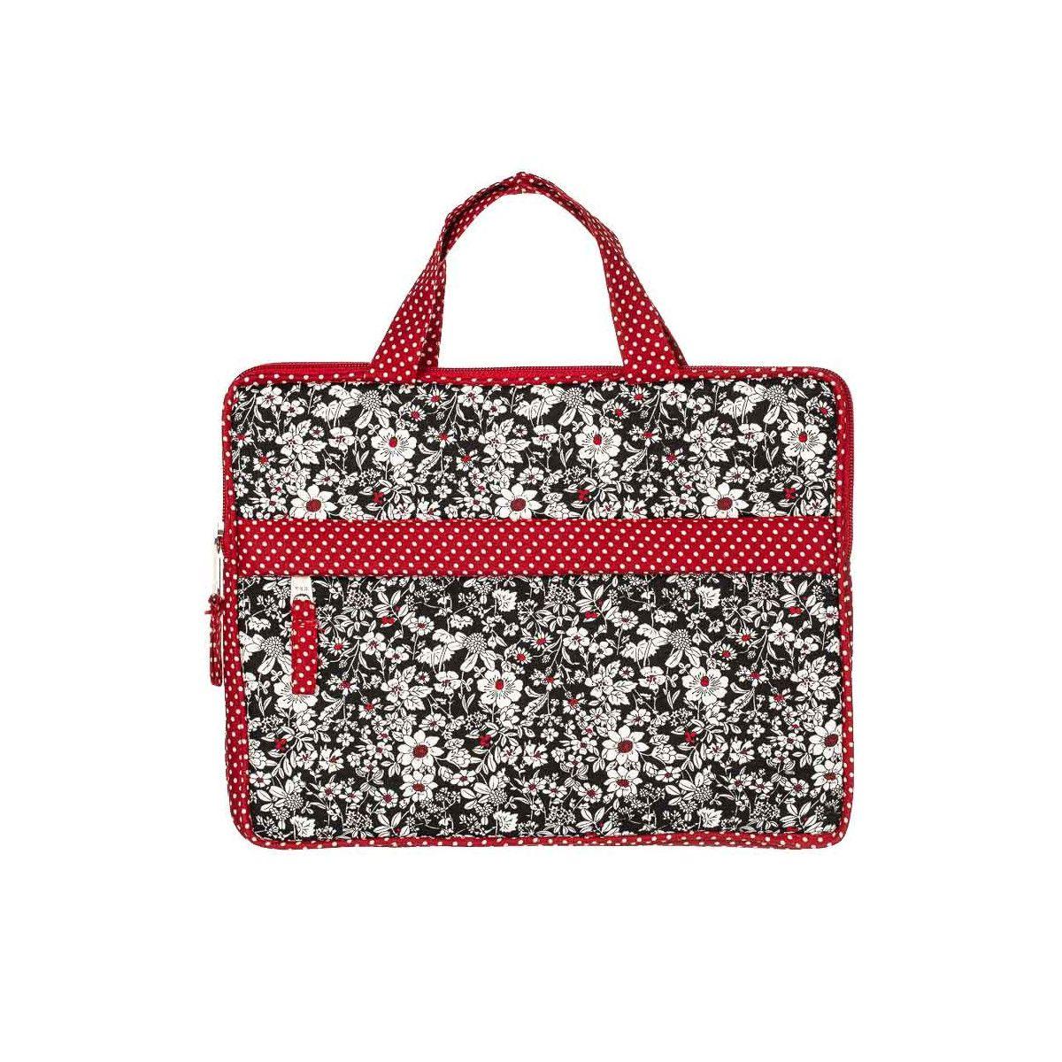Housse de protection pour tablette écran 10 pouces noir et rouge à fleurs