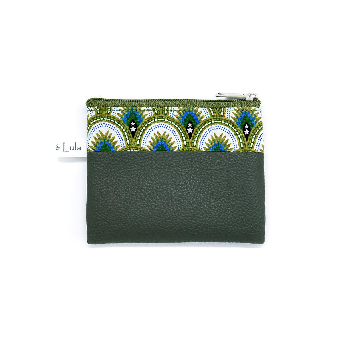 Petit porte-monnaie zippé vert kaki