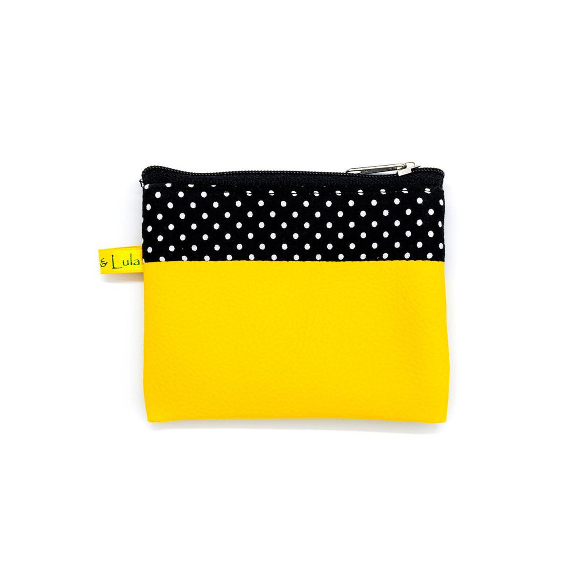 Petit porte-monnaie zippé jaune et noir à pois