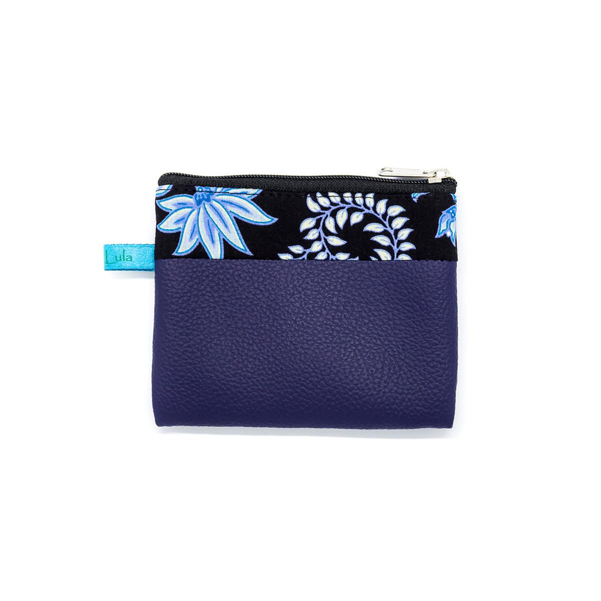 Petit porte-monnaie zippé bleu nuit