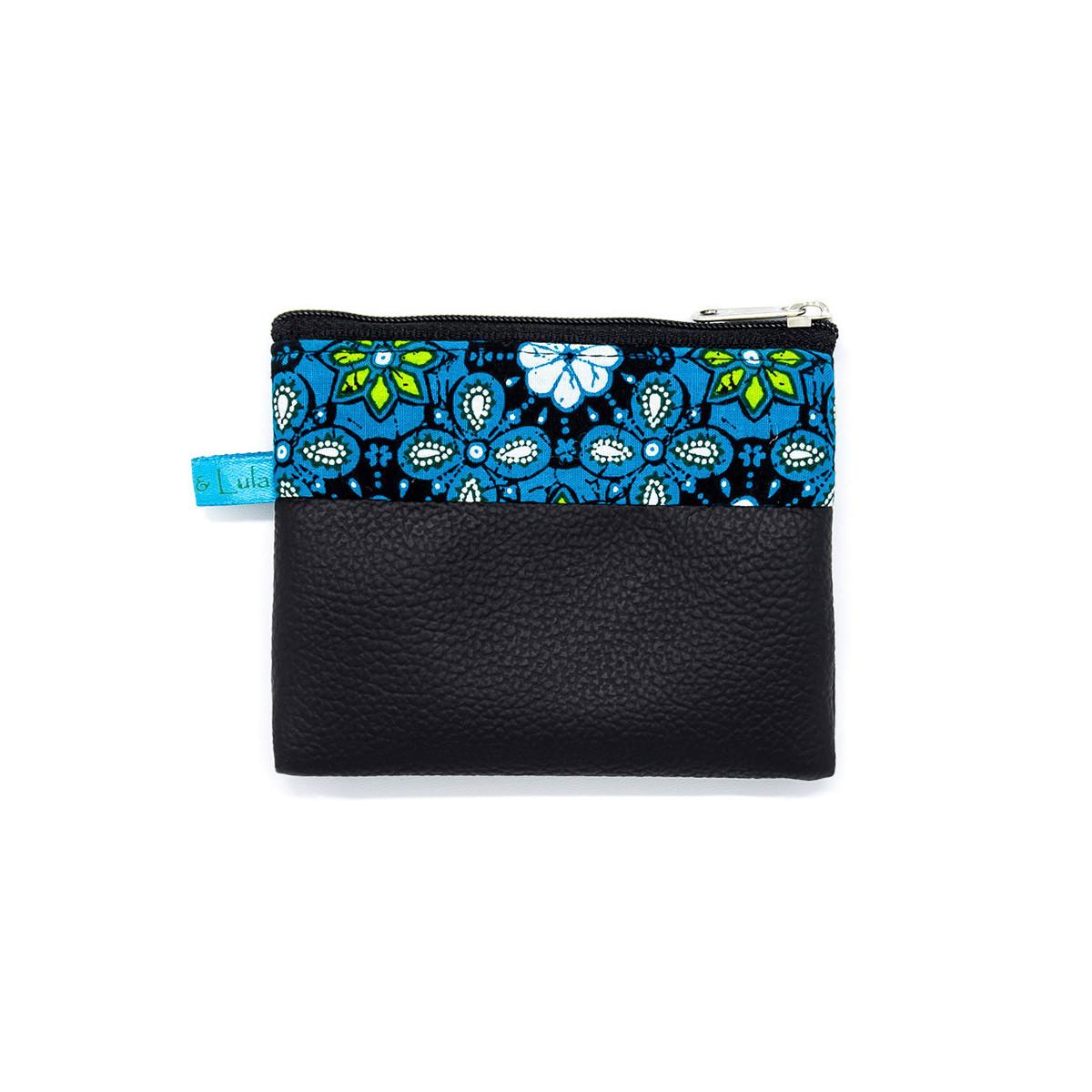 Petit porte-monnaie zippé noir et bleu