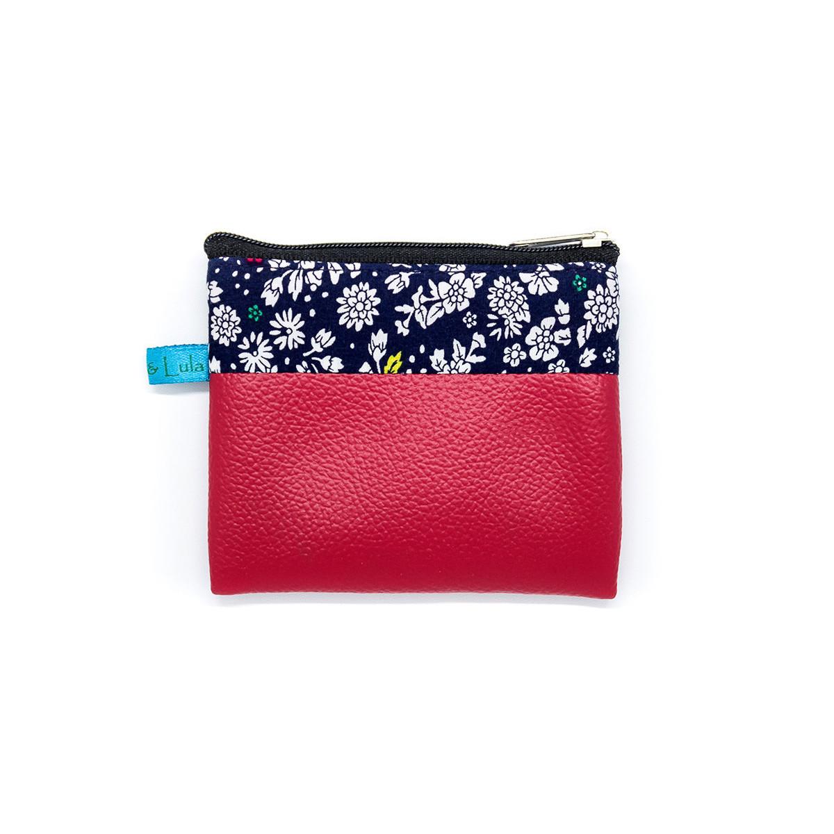 Petit porte-monnaie zippé rouge et bleu à fleurs
