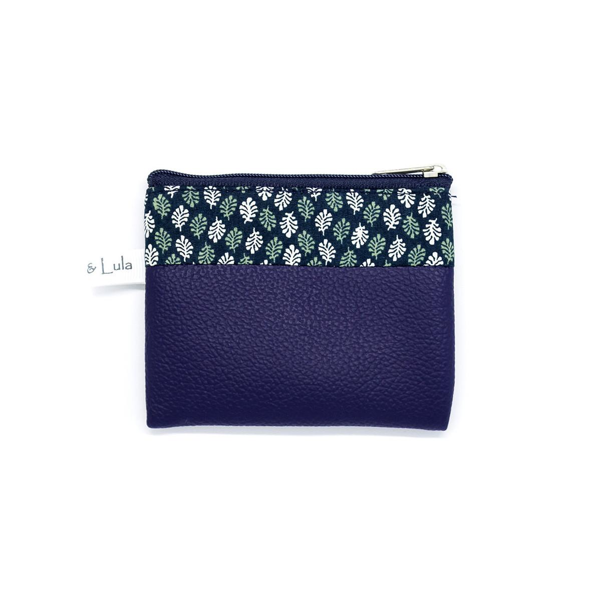 Petit porte-monnaie zippé bleu foncé et feuilles