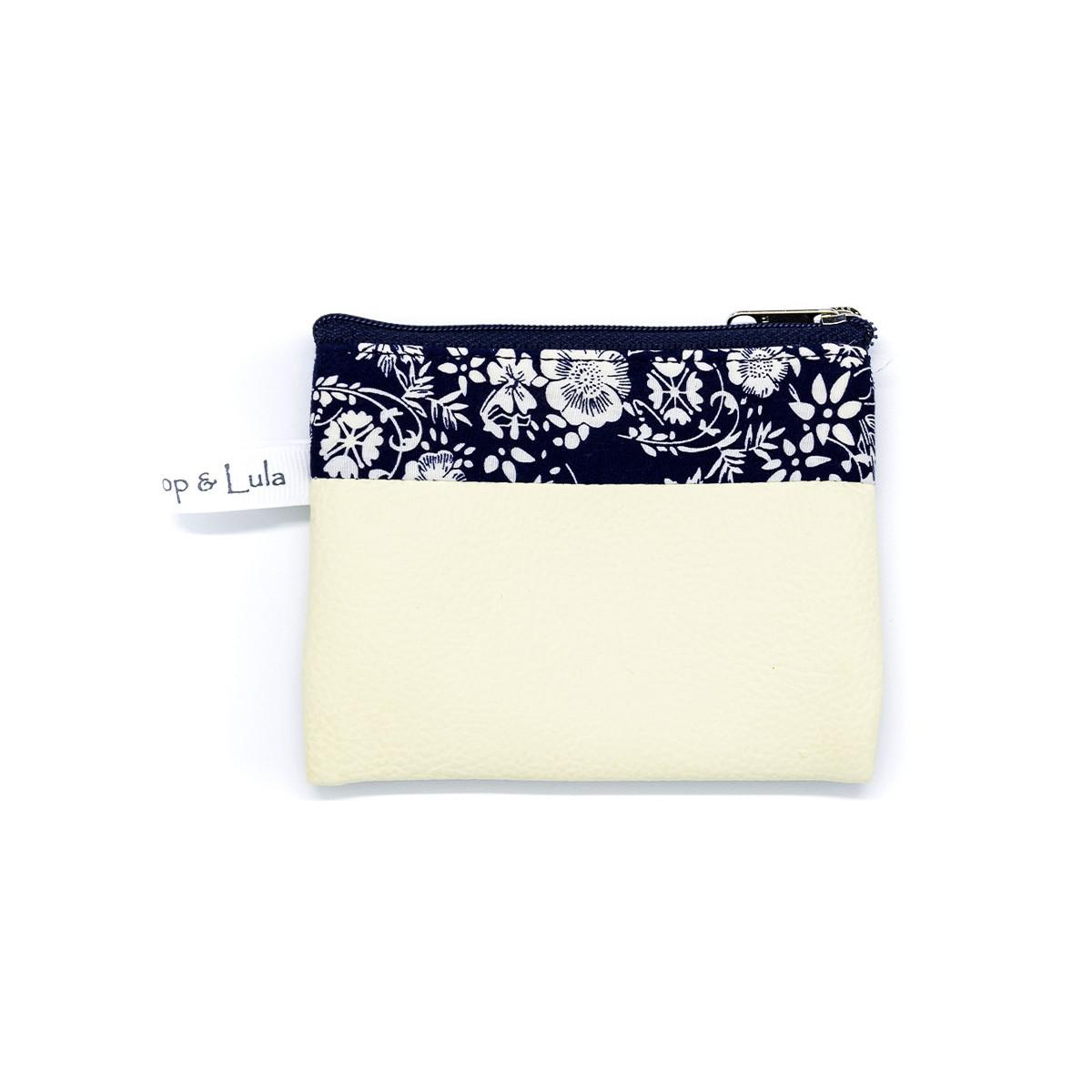 Petit porte-monnaie zippé blanc et bleu avec fleurs