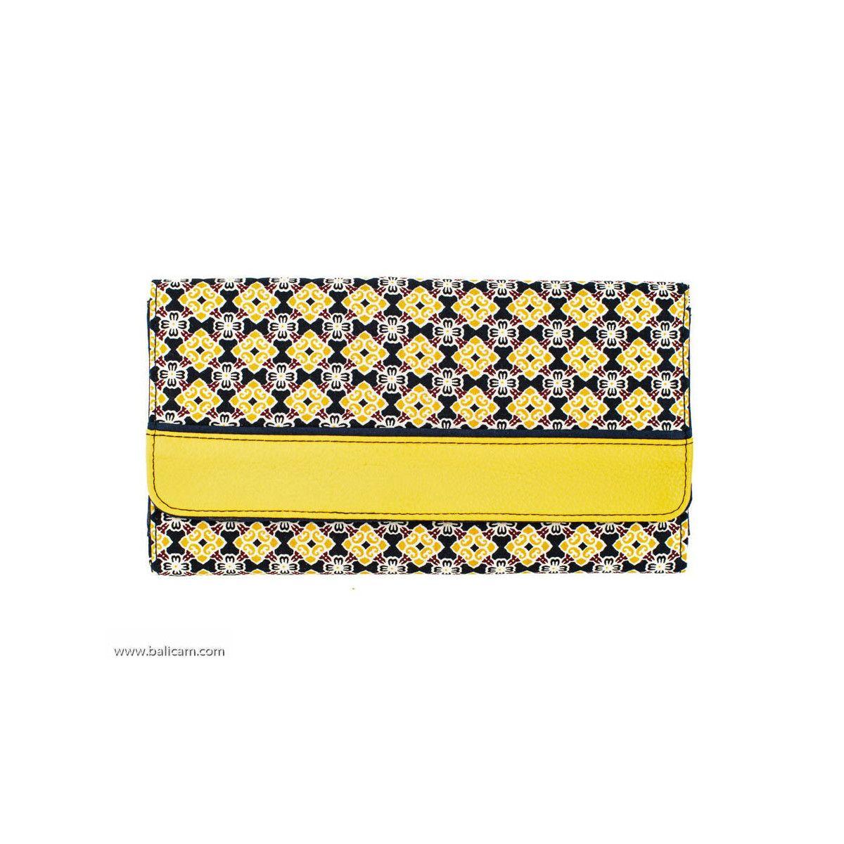 Portefeuille compagnon tout-en-un original jaune et bleu marine