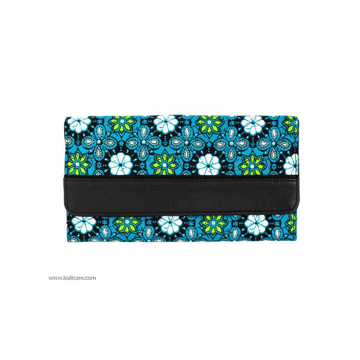 Portefeuille compagnon tout-en-un original noir et bleu
