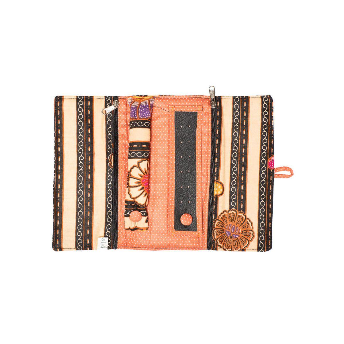 Trousse à bijoux de voyage orange et noire