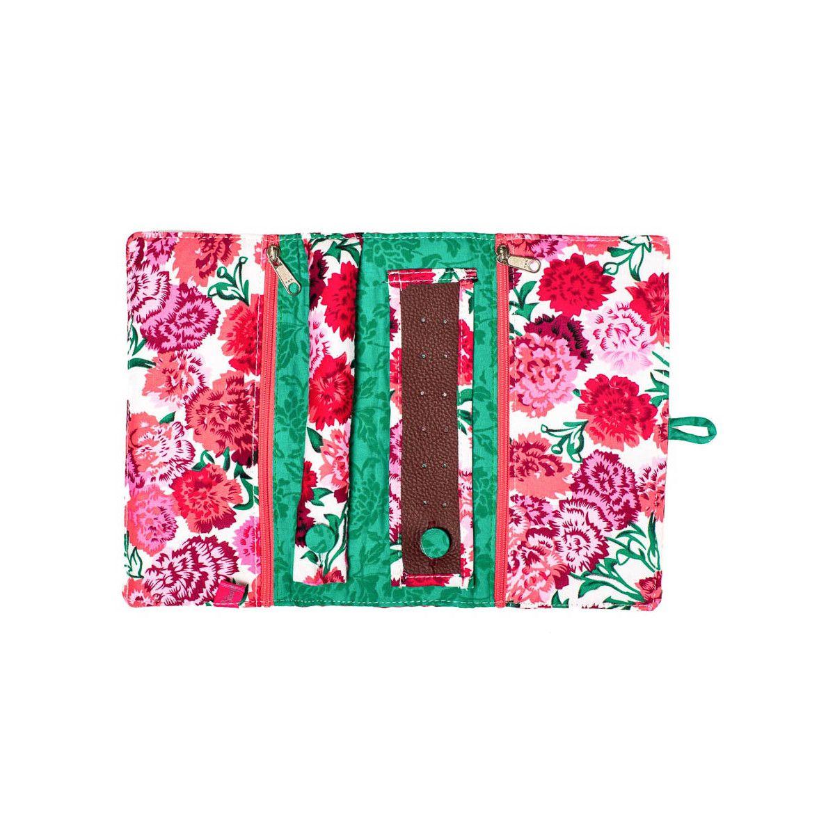 Trousse à bijoux de voyage verte et fleurs rose