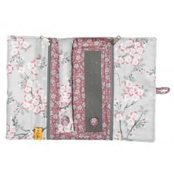 Trousse à bijoux de voyage gris perle et fleurs de cerisiers