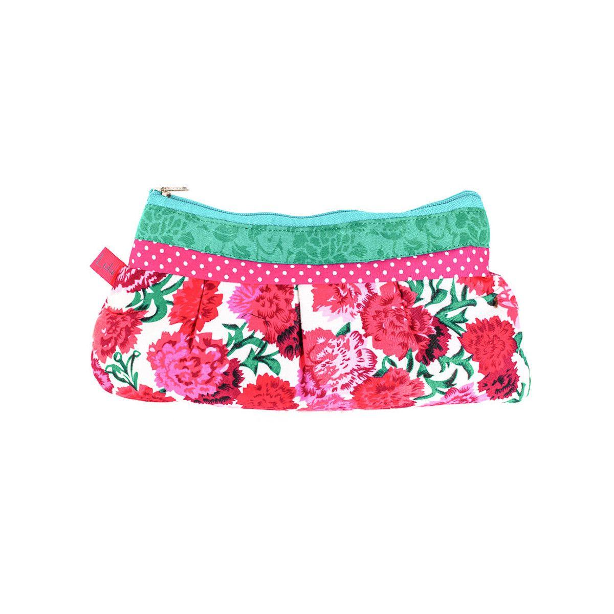 Trousse à maquillage coton original verte et fleurs rose