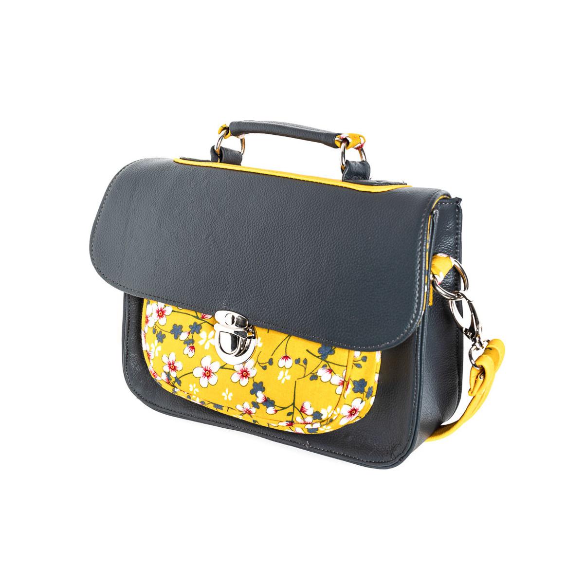 sac-à-main-femme-bandoulière-style-cartable-rétro-gris-et-jaune