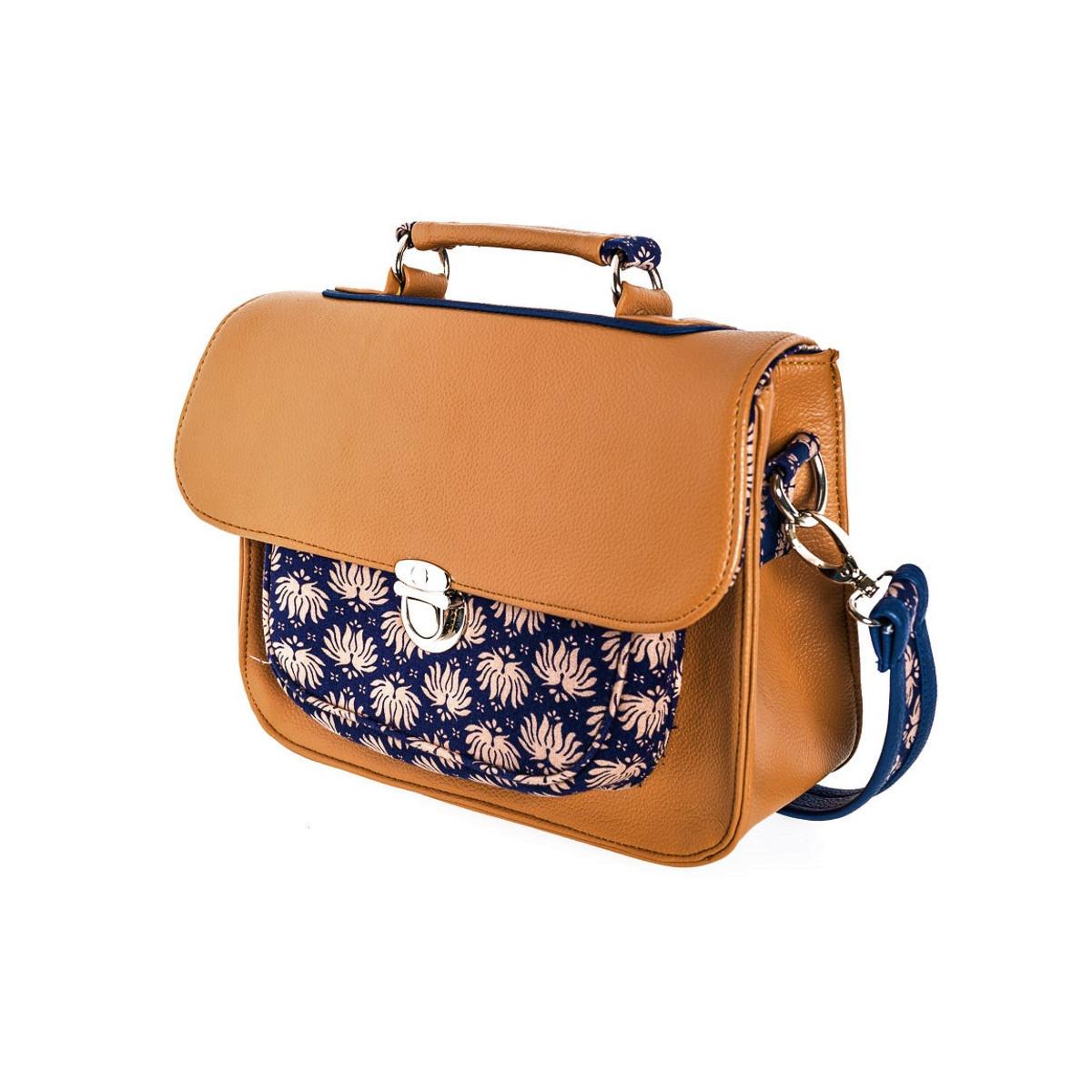 Sac à main bandoulière style cartable rétro marron brun et bleu