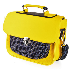 Sac à main bandoulière style cartable rétro jaune et noir