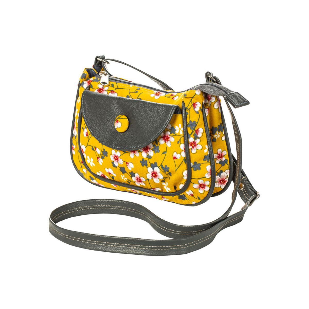 petit sac besace bandoulière jaune moutarde et fleurs