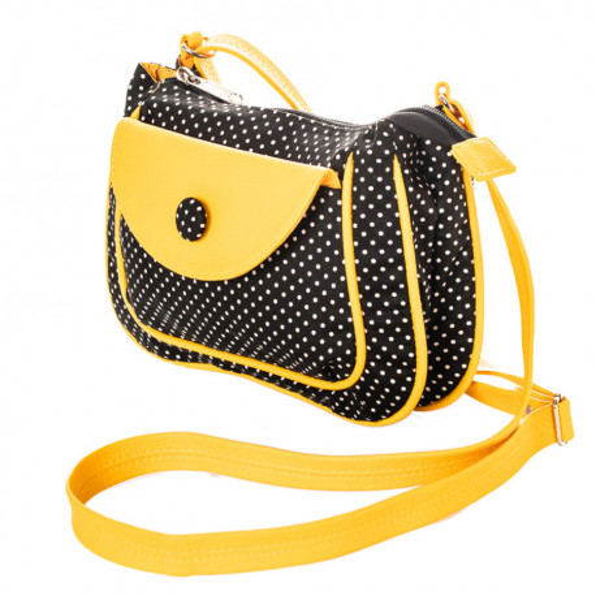 petit sac besace bandoulière tissu jaune et noir à pois blanc