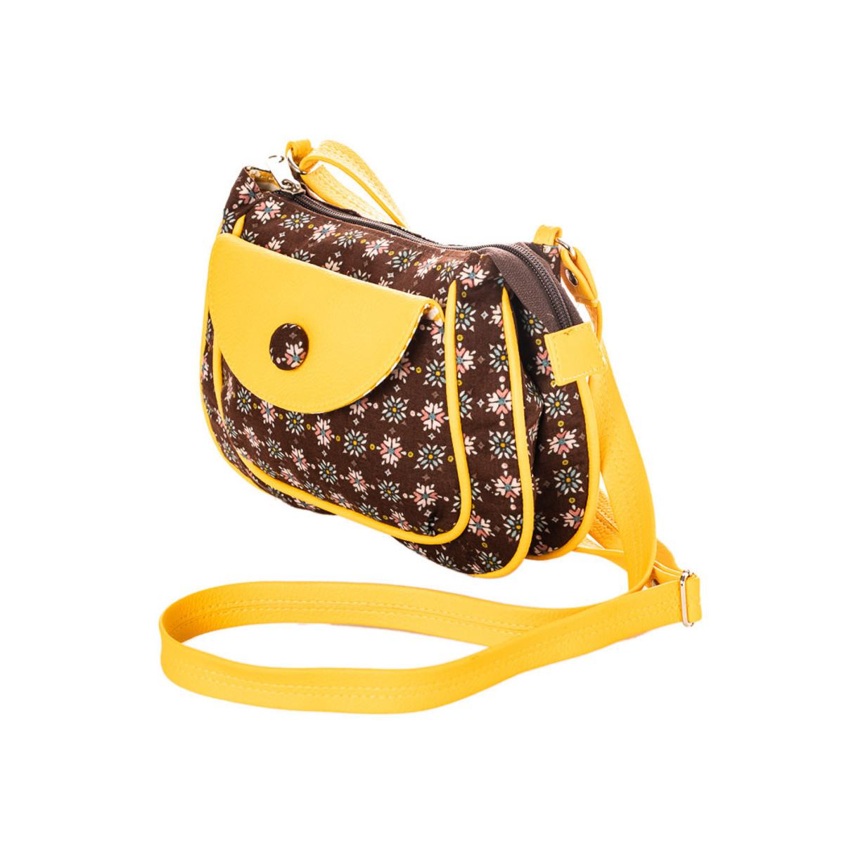 petit sac besace bandoulière tissu jaune et marron chocolat